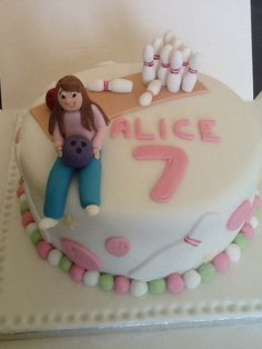 Our Alice's birthday cake. Still can't work out why she wanted a bowling cake, she'd only been twice! :)
