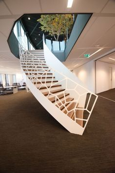 Bespoke staircase manufacturer EeStairs has completed the installation of four different staircases at Vodafone's Amsterdam office. The EeStairs staircase. Bespoke Staircases, Wooden Staircases, Modern Staircase, Staircase Design, Stairways, Home Interior Design, Interior And Exterior, Staircase Manufacturers, Palmer House