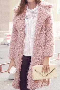 Pink Fluffy Longline Coat