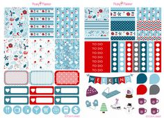 Winter Christmas December Weekly Planner Stickers | Erin Condren, Kikki K, InkWell, Plum Planner, Scrapbook