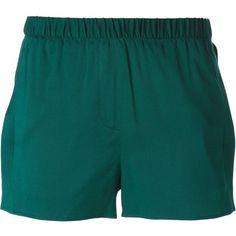 T By Alexander Wang Side Slit Shorts ($304) ❤ liked on Polyvore featuring shorts, bottoms, shorts/skirts, green, elastic waistband shorts, t by alexander wang, elastic waist shorts, green shorts and t by alexander wang shorts