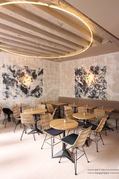 Restaurant Lighting Ideas | Unique lighting fixture in a mid century modern… #restaurantdesign