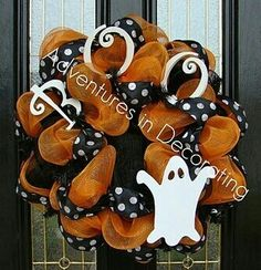 Halloween ~ Cute cute cute    I love the ribbon, but would probably find a substitute for that ghost