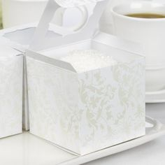 White Floral Cupcake Boxes