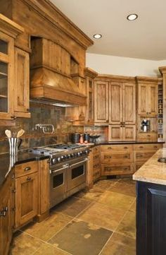 How to Decorate Around Natural Wood Kitchen Cabinets | eHow. I LOVE these cabinets