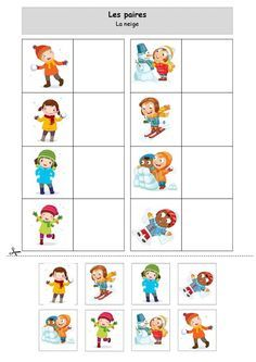 The snow pairs by Lolo - PDF file Preschool Learning Activities, Kids Learning Activities, Winter Activities, Toddler Preschool, Preschool Activities, Winter Crafts For Kids, Educational Games, Worksheets For Kids, Childhood Education