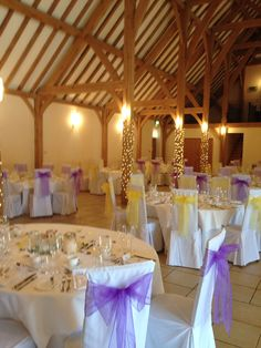 Violet & canary yellow sashes at Rivervale Barn, a lovely combination of colours by Fuschia.