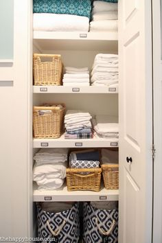 These Are Hands-Down the Best Ways to Organize Your Linen Closet Linen Closet Organization Ideas - How to Organize Your Linen Closet Home Organization, Closet Storage, Hallway Closet, Laundry Closet, Small Closets, Storage Closet Organization, Closet Organization, Cupboards Organization, Linen Closet Makeover