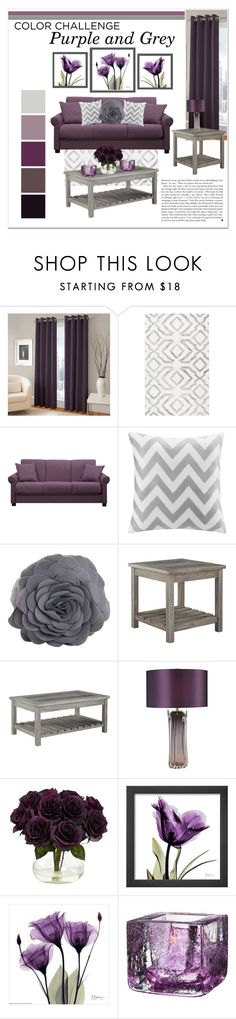 """Purple and Grey Living Room"" by lalalaballa22 ❤ liked on Polyvore featuring interior, interiors, interior design, home, home decor, interior decorating, Portfolio, Intelligent Design, Saro and Signature Design by Ashley"