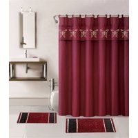Wpm 15 Piece Multi Color Jacquard Bath Rug Set Burgundy Red