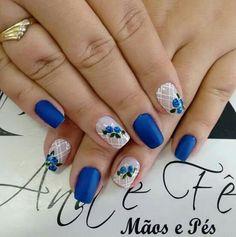 Blue Nail Designs, Beautiful Nail Designs, Pastel Nails, Blue Nails, Aloha Nails, Gel Nails, Acrylic Nails, Striped Nails, Flower Nail Art