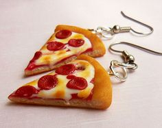 Polymer Clay Pepperoni Pizza Ring Food by ScrumptiousDoodle