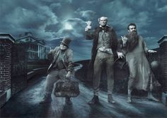 Jack Black, Will Ferrell, and Jason Segel as Phineas, Ezra, and Gus (aka the Hitchhiking Ghosts)
