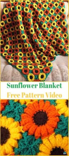 Crochet 3D Sunflower Blanket Free Pattern