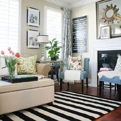 Stripes can have a huge impact in a room. Easiest way to add a bold look is to infuse black and white stripes.
