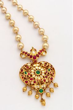 Indian Jewellery and Clothing: Beautiful ruby and emerald studded antique kada and pendant from Mangatrai Jewellers Emerald Jewelry, Pearl Jewelry, Bridal Jewelry, Antique Jewelry, Gold Jewelry, Beaded Jewelry, Bridal Necklace, Antique Gold, Pearl Necklace