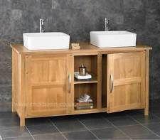 130cm Oak Bathroom Cabinet Freestanding Basin Double Sink Vanity Unit Cupboard