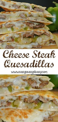 Change up your normal Quesadillas with these crowd pleasing Cheese Steak Quesadillas. It's the perfect flavor combination of a Philly Cheese Steak Sandwich and a Quesadilla! Recipes beef Cheese Steak Quesadillas Are A Crowd Pleaser - Easy Peasy Pleasy Healthy Recipes, Mexican Food Recipes, Beef Recipes, Cooking Recipes, Salmon Recipes, Chicken Recipes, Shrimp Recipes, Meatloaf Recipes, Meatball Recipes