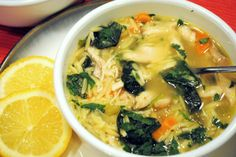 Lemon orzo chicken soup - light and tasty.  Wish mine had been this pretty, but the red onions muddied it a bit.  Still good, though.