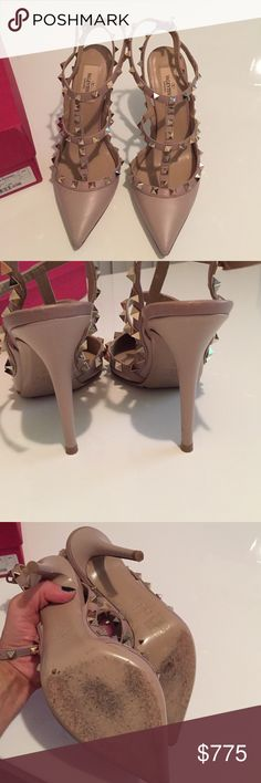 Valentino rockstud shoes Stunning excellent condition Valentino rock stud heels has very subtle scuffs on very tips all studs are flawless.  Literally worn once to a party.  You won't get this neutral stunning authentic pair for this price.  Buy them before they are sold ✨✨✨color is powder ✨ Valentino Shoes Heels
