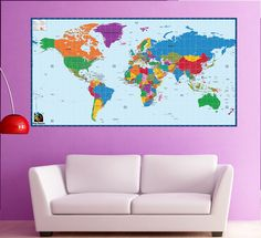 """World Map Office Wall Mural Children Educational  Wall Stickers- World Map 50""""H - Repositionable Wall Stickers Home Decor Must Have by PopDecors on Etsy https://www.etsy.com/listing/209220848/world-map-office-wall-mural-children"""