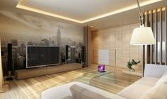 indirekte led beleuchtung im wohnzimmer helles-holz-fototapete-new-york-skyline