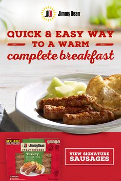 Jimmy Dean's breakfast sausages are fully cooked and ready when you are. So you can enjoy all the signature flavor of our sausage without the cook time. Tap the Pin to learn more. Egg Recipes, Sauce Recipes, Pork Recipes, Crockpot Recipes, Cooking Recipes, Chicken Wing Recipes, Healthy Chicken Recipes, Baked Chicken, Jimmy Dean