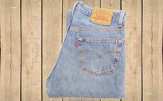 Vintage Levis 501 USA Made 1990s Stonewash Blue Denim Button Fly Straight Leg High Rise Red Tab 90s Measure as W32 L32 by BlackcatsvintageUK on Etsy