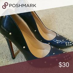 Stilettos Heels Spiked Dark Blue Heels Nine West Shoes Heels
