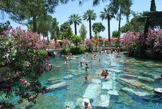 Hot springs over roman ruins Pamukkale Turkey