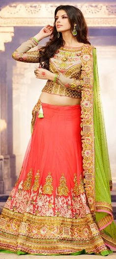 159921 Pink and Majenta  color family Bridal Lehenga, Wedding Lehngas in Net fabric with Border, Lace, Machine Embroidery, Patch, Resham, Stone, Zari work .