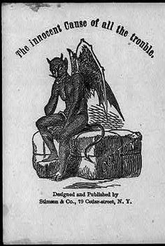 The Innocent Cause of all the Trouble, illustration of the Devil sitting on a bale of cotton, illustration circa 1861-65