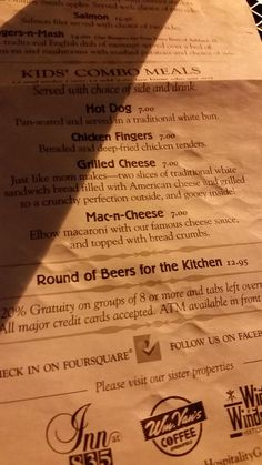 """On the menu: """"Round of Beers for the Kitchen $12.95"""""""