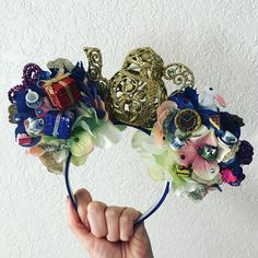 """Mad tea party inspired ears! Absolutely one of a kind! So sparkly! So detailed! These ones are available! $60 shipped! Comment """"sold"""" to claim. Must use PayPal. Shipping within the u.s. only. #madteapartyears #madteaparty #aliceinwonderlandears #aliceears #disneyland #wdw #disneyinspired #mickeyears #minnieears #mouseears #customears Diy Disney Ears, Disney Minnie Mouse Ears, Disney Bows, Disney Diy, Disney Crafts, Disney Headbands, Ear Headbands, Mini Mouse Ears, Disneyland Ears"""