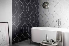 Mosaico+ Decor Collection - Loop Black Silver  #mosaicopiu #whitegold #gold #glassmosaic #mosaic #mosaico #orobianco #oro #vetro #decorazioni #walldecor #decoration #interior #interiordesign #bathroom #design #madeinitaly
