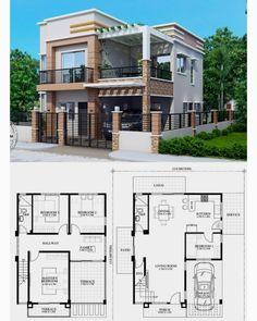 House Plans 2 Storey, 2 Storey House Design, Model House Plan, Sims House Plans, House Layout Plans, Modern House Floor Plans, Beach House Plans, Bungalow House Design, Family House Plans