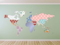 World map 02 watercolor paint poster mural decal by americandecals cultural world map decal butterfly pattern map wall decal clear vinyl decal nursery room decals map mural whole wide world decal gumiabroncs Choice Image