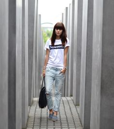boyfriend jeans white t-shirt and channel espadrilles