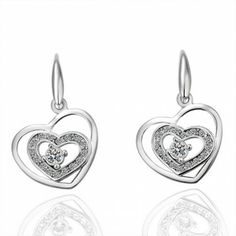 AEKK Platinum dual heart earrings'  Adjustable Ring. Perfect for Valentines Day! #AEKK