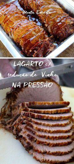 Lagarto com redução de vinho, na pressão! Beef Recipes, Cooking Recipes, Healthy Recipes, Easy Dinner Recipes, Easy Meals, Brazilian Dishes, Good Food, Yummy Food, Salty Foods