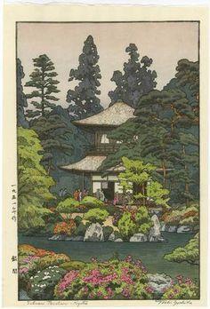Toshi Yoshida Japanese Woodblock Silver Pavilion 1951 | eBay
