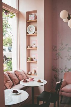 This Pretty-in-Pink Cake Shop Is Sweet Enough to Eat—Step Inside Inside Sweet Laurel's First L. Cake Shop (It's Delicious) Bakery Decor, Bakery Interior, Cafe Interior Design, Cafe Design, Home Interior, Pastry Shop Interior, Cupcake Shop Interior, Pub Decor, Design Design