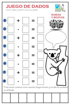 Plantillas para jugar con dos dados, lanza los dados, escribe la cantidad y calcula!!!! Relacionado 1st Grade Math, Kindergarten Math, Teaching Math, Math Stations, Math Centers, Math Games, Math Activities, Elementary Spanish, School Tool
