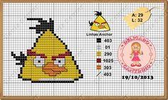 "Delicado Cantinho: Toalha de Banho em Ponto Cruz ""Angry Birds"" Angry Birds, Stitch Cartoon, Cartoon Movies, Cartoon Characters, Plastic Canvas Patterns, Baby Disney, Cross Stitching, Beading Patterns, Cross Stitch Patterns"