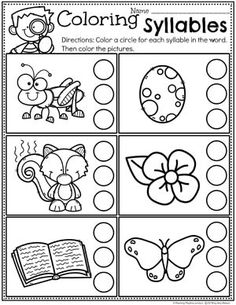 Syllables Worksheets for Kids - Count and Color the Syllables #syllables #syllablesworksheets #kindergartenworksheets #planningplaytime