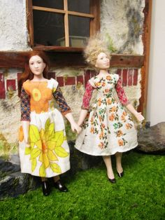 Dolls by Taru Astikainen, styling by Hanna & Leijona Miniature Dolls, Beautiful Dolls, Pretty Dresses, Dress Making, Miniatures, How To Make, House, Vintage, Style