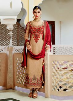 Cream Colored Admirable Designer Embroidered Straight Cut Suit