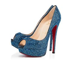 Christian Louboutin Lady Peep 150mm Blue Khol Strass Women Special-Occasion