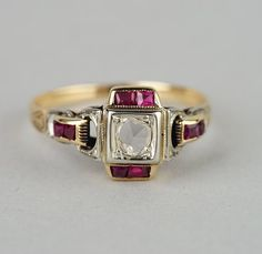 Distinctive Victorian solitaire diamond and ruby by hawkantiques
