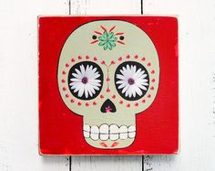 Original Painting Artwork - Wooden Block - Home Decor Gift - Handmade : drawing-painting-photo DAY of the DEAD Mexican Skull WOMAN